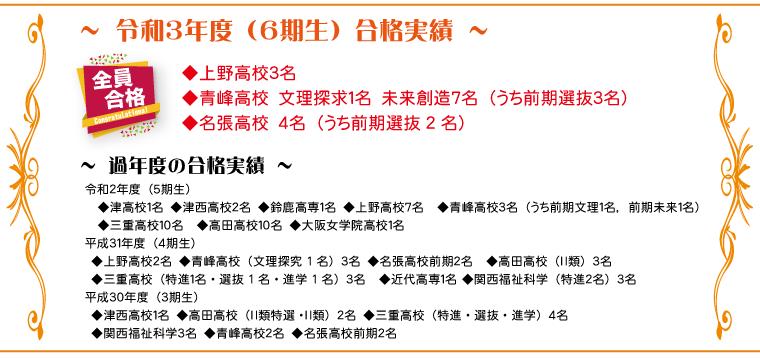 合格実績 津西高校・高田高校・三重高校・上野高校・青峰高校・近代高専